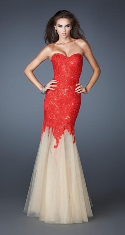 3083216c910a Červené dlhé korzetové šaty s čipkou morská panna 313b - Salón Emily
