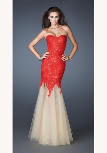 05e273f65e66 Červené dlhé korzetové šaty s čipkou morská panna 313b