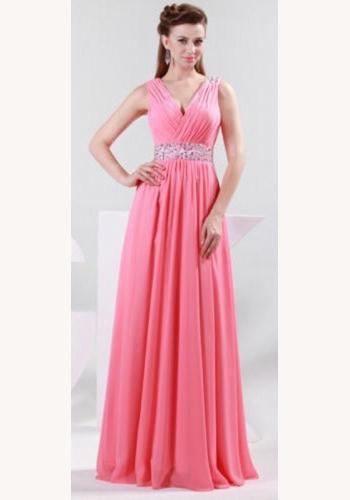 133024dab8dc Ružové dlhé šaty s flitrami na ramienka 315