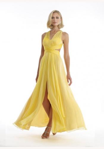 6691d88f1592 Žlté dlhé šaty s rozparkom so zapínaním okolo krku 318