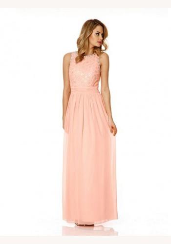 3907e76b4930 Ružové dlhé šaty bez výstrihu bez rukávov 357Qa