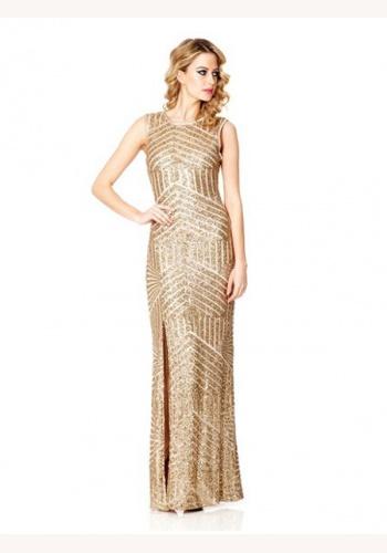 5f1eff198358 Zlaté dlhé úzke flitrované šaty bez rukávov 358Q
