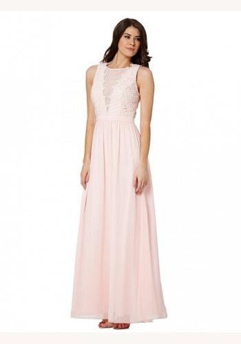 1a709691c4b8 Ružové dlhé šaty s čipkou bez rukávov 362