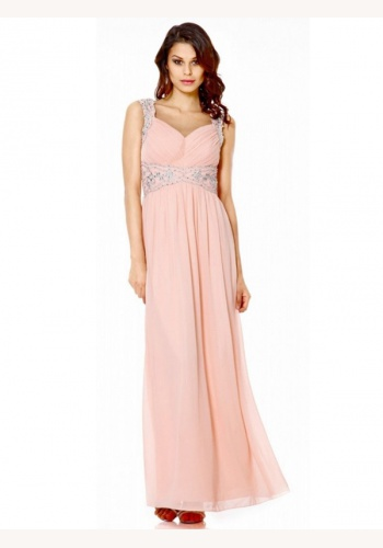 8055891d64d8 Ružové dlhé šaty s výstrihom na ramienka 365Q