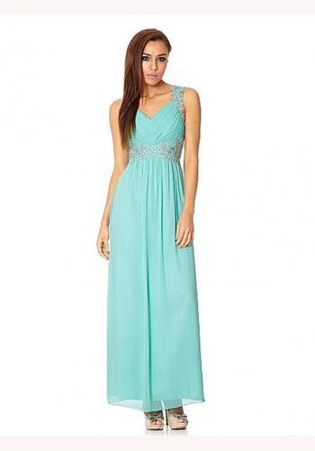 192bdc4aea1e Modré dlhé šaty s výstrihom na ramienka 365Qb