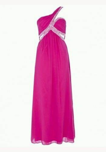 Ružové dlhé šaty na jedno rameno 372 3a0744d569e