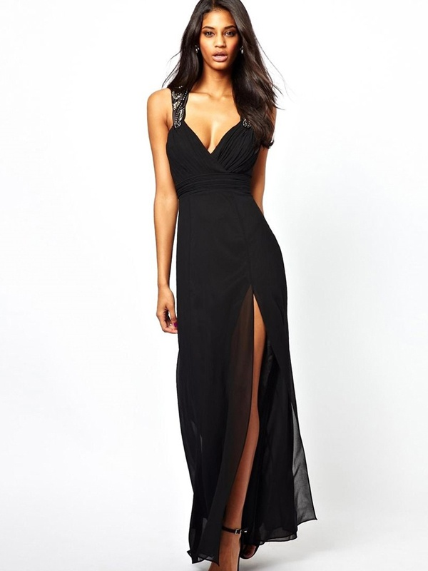 b8ae8ba07c Čierne dlhé šaty s flitrami na ramienka 373LP - Salón Emily