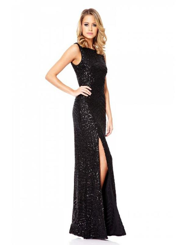 Čierne dlhé flitrované úzke šaty s rozparkom bez rukávov 377Q 204eabfe0c5