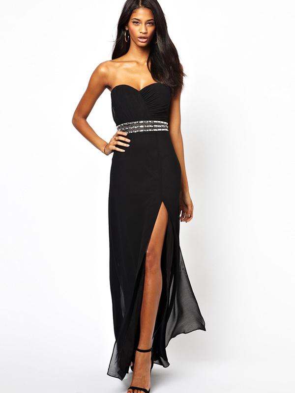 0afa2b1f3ff0 Čierne dlhé korzetové šaty s rozparkom 404LP - Salón Emily