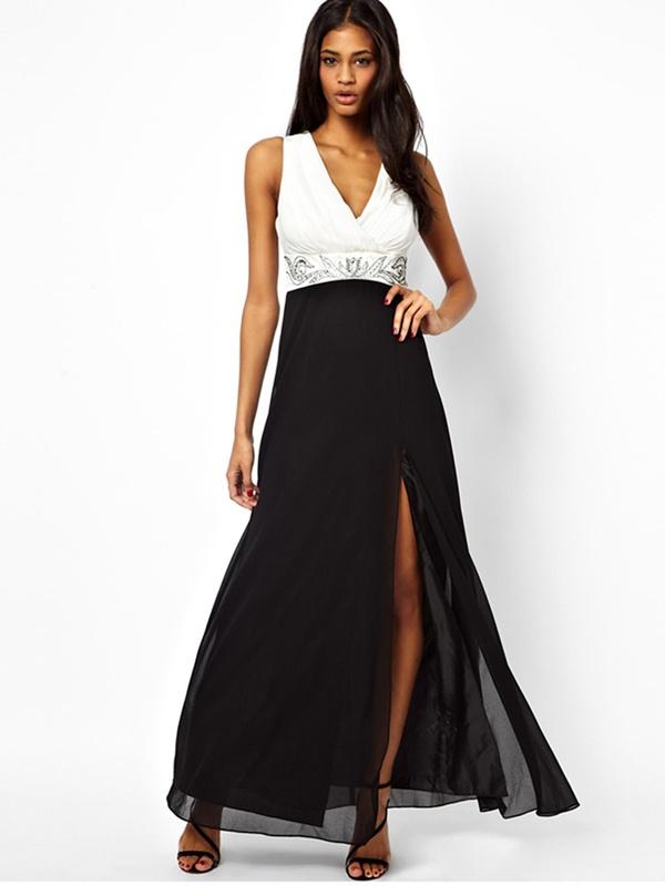 Bielo-čierne dlhé šaty na ramienka s rozparkom 406 02900e0021d