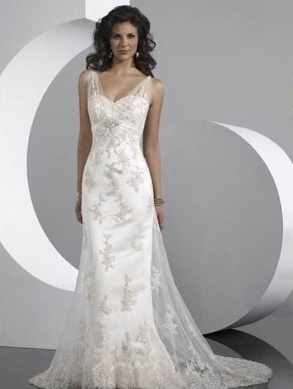 692d3b753c43 Biele dlhé svadobné šaty s čipkou na ramienka morská panna 115 ...