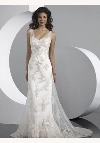 Biele dlhé svadobné šaty s čipkou na ramienka morská panna 115 c2f4ec583fa