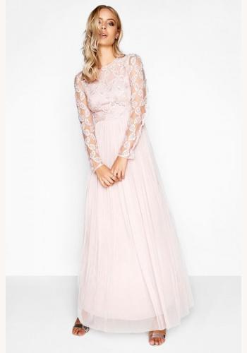 8dd68474f4d0 Ružové dlhé šaty s dlhým rukávom 408