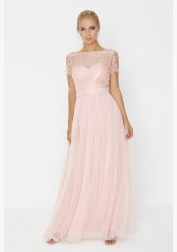 75ad747a23ca Ružové dlhé šaty s čipkou s krátkym rukávom 409L