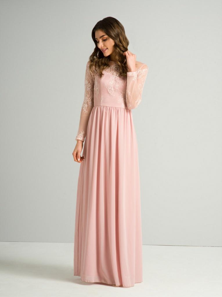 947190cedef7 Ružové dlhé šaty s čipkou s dlhým rukávom 410C - Salón Emily