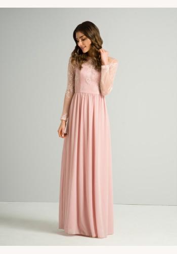 23ea5716538b Ružové dlhé šaty s čipkou s dlhým rukávom 410C