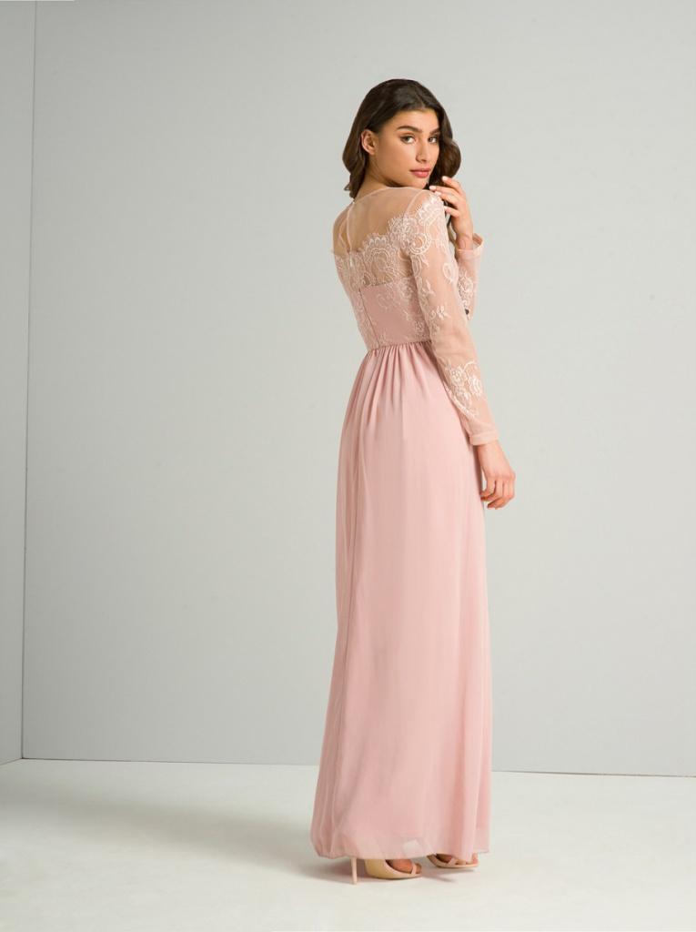 15d4b6c6fe4c Ružové dlhé šaty s čipkou s dlhým rukávom 410C - Salón Emily