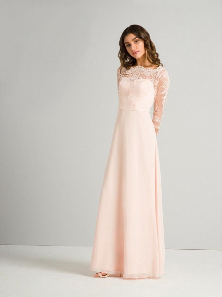Ružové dlhé čipkované šaty s 3 4 rukávom 413 c641dc92467