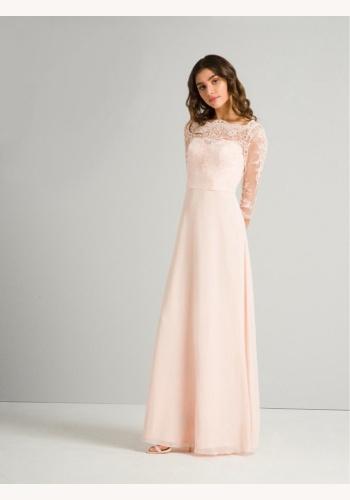 9d3e0b29f52a Ružové dlhé čipkované šaty s 3 4 rukávom 413C