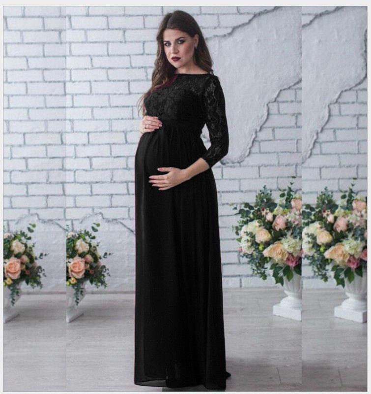 29552a27dc8f Čierne dlhé tehotenské šaty s čipkou s 3 4 rukávom 414Ea - Salón Emily