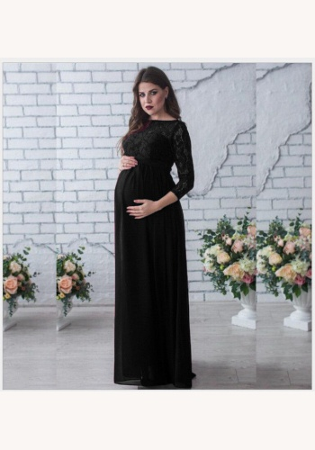 Čierne dlhé čipkované tehotenské šaty s 3 4 rukávom 414a 55748c3b1a8