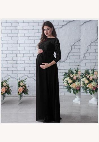 e3dd9e4491ab Čierne dlhé tehotenské šaty s čipkou s 3 4 rukávom 414Ea
