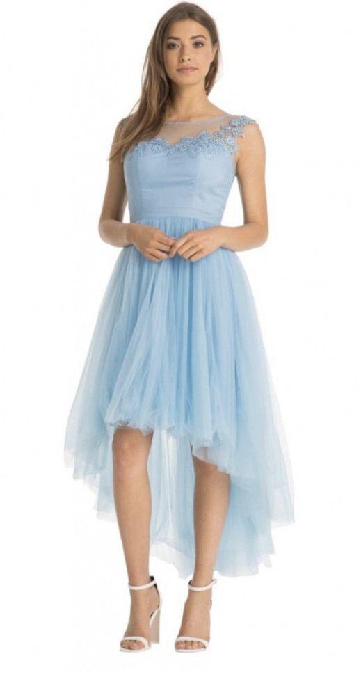 Petite modré vpredu krátke vzadu dlhé šaty s čipkou bez rukávov 418C 1da29d5480a