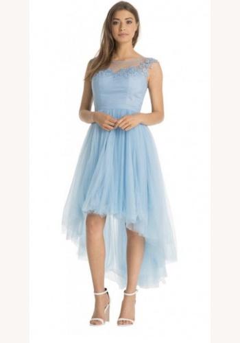 53e66ece24e2 Petite modré vpredu krátke vzadu dlhé šaty s čipkou bez rukávov 418C