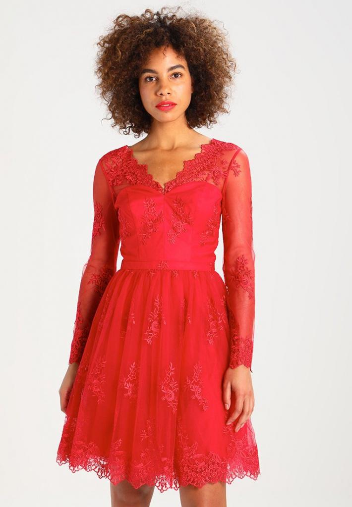 905af150b4 Červené mini čipkované šaty s dlhým rukávom 180 - Salón Emily
