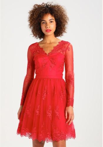 bae3d99d8433 Červené mini čipkované šaty s dlhým rukávom 180
