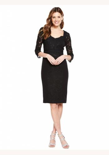 8e5cd6569bb9 Čierne midi čipkované šaty s 3 4 rukávom 181V