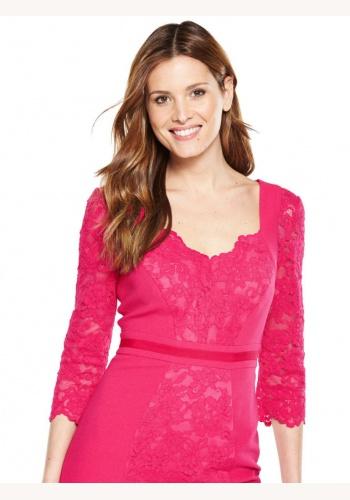 75d3e7b52758 Ružové midi čipkované šaty s 3 4 rukávom 181Va