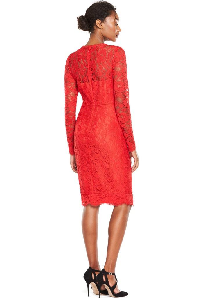 0ea75fe29dc5 Červené midi čipkované šaty s dlhým rukávom 182V - Salón Emily