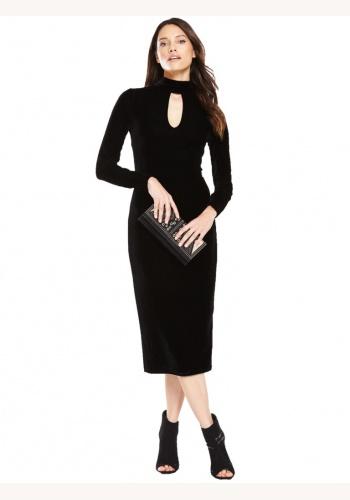 2d8fdb7721e4 Čierne midi zamatové šaty s dlhým rukávom 183V