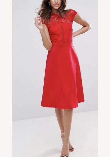 40948bd6cc1e Červené midi šaty s čipkovaným topom s krátkym rukávom 185A