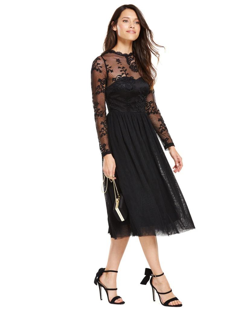 cec88da75c97 Čierne midi čipkované šaty s tylovou sukňou s dlhým rukávom 186V ...