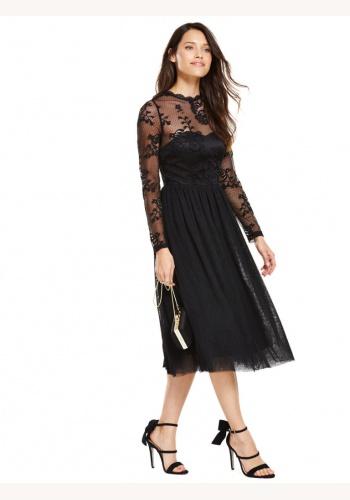 87d3f0e0be49 Čierne midi čipkované šaty s tylovou sukňou s dlhým rukávom 186V
