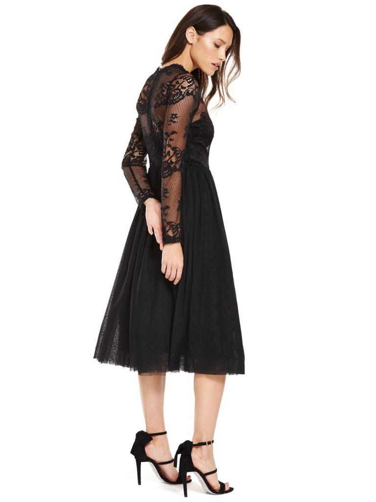 49d0967f19bf Čierne midi čipkované šaty s tylovou sukňou s dlhým rukávom 186V ...