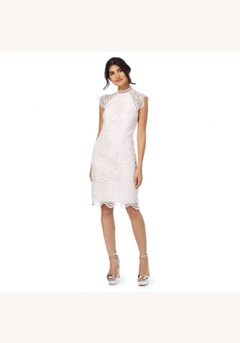 8f9d0a2fc073 Ružové midi čipkované šaty bez výstrihu 187C