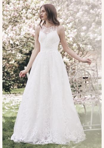 Biele dlhé čipkované svadobné šaty bez rukávov 158 956dd8845cc