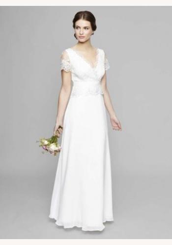 949809bae13c Smotanové dlhé svadobné šaty s čipkovaným krátkym rukávom 160W