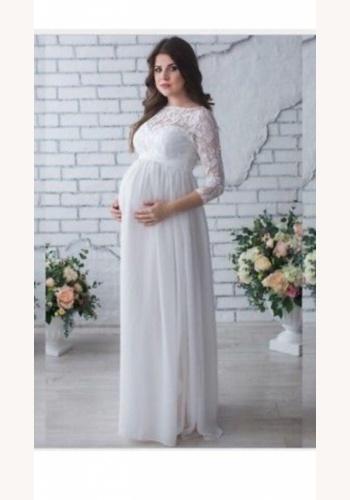 Biele dlhé svadobné čipkované tehotenské šaty s 3 4 rukávom 156E 9cdf7ea9f5e