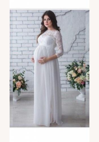 08e0e342c9ed Biele dlhé svadobné tehotenské šaty s čipkou s 3 4 rukávom 156E