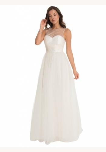 Krémové dlhé svadobné šaty s trblietkami bez rukávov 163C d45b6609186