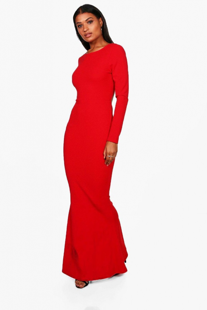 f02dee335e9e Červené dlhé úzke šaty s otvoreným chrbátom s dlhým rukávom 423BHa ...