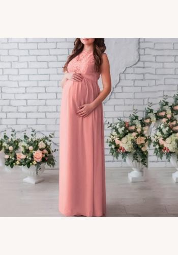 f67d820ccd22 Ružové dlhé tehotenské šaty s čipkou bez rukávov 425Ea