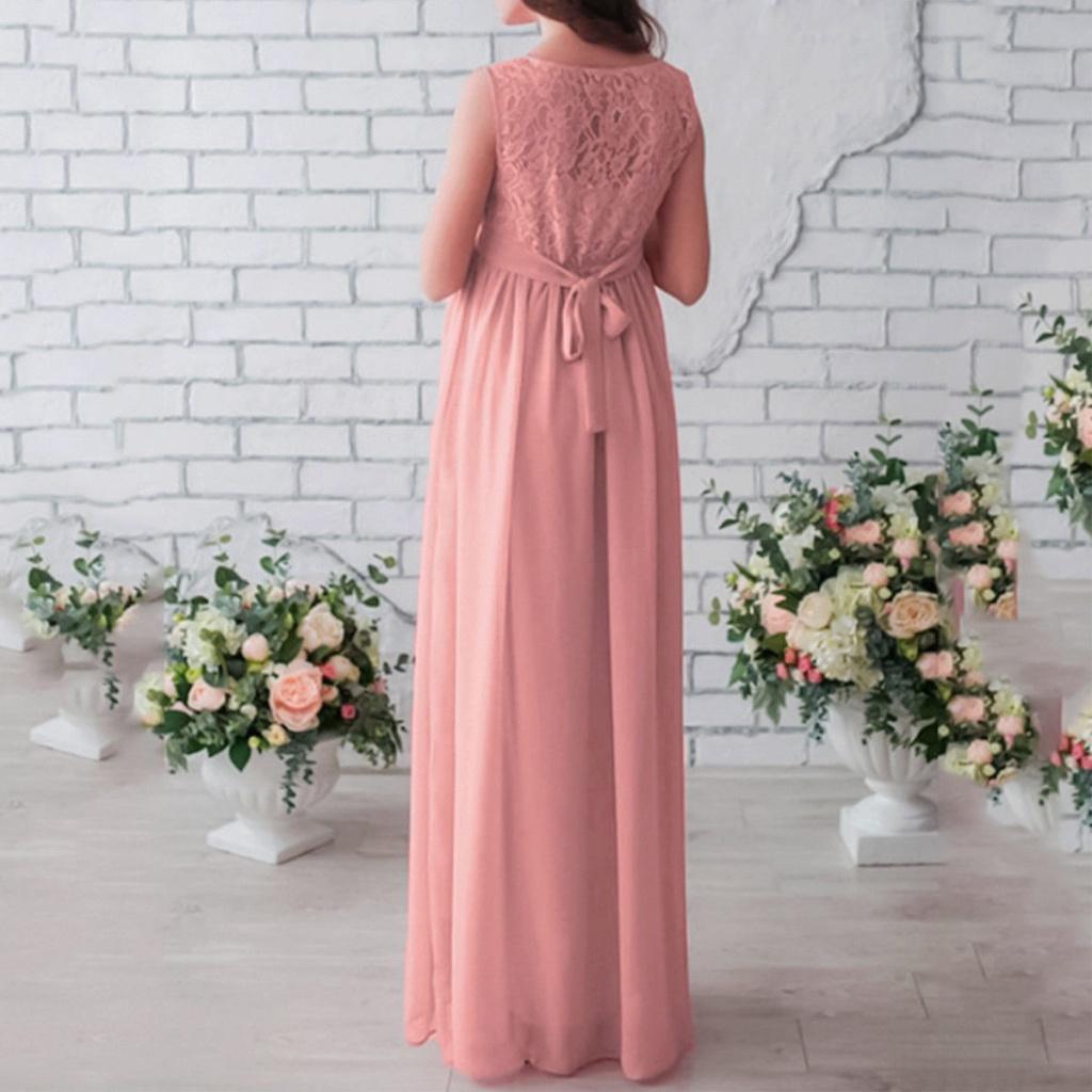 8ff9e1f4e752 Ružové dlhé tehotenské šaty s čipkou bez rukávov 425Ea - Salón Emily