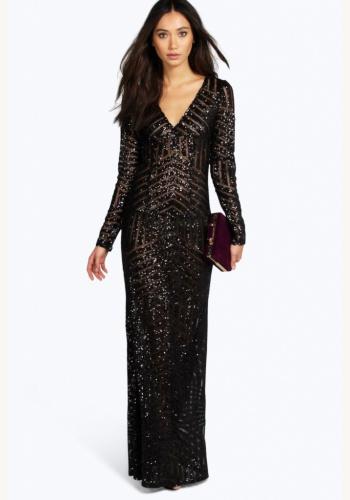 aae9ce43c946 Čierne dlhé flitrované šaty s dlhým rukávom 426BHa
