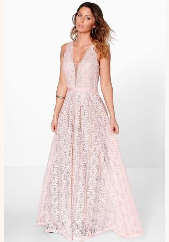 9b2e969edf27 Ružové dlhé čipkované šaty s výstrihom na hrubé ramienka 427LW