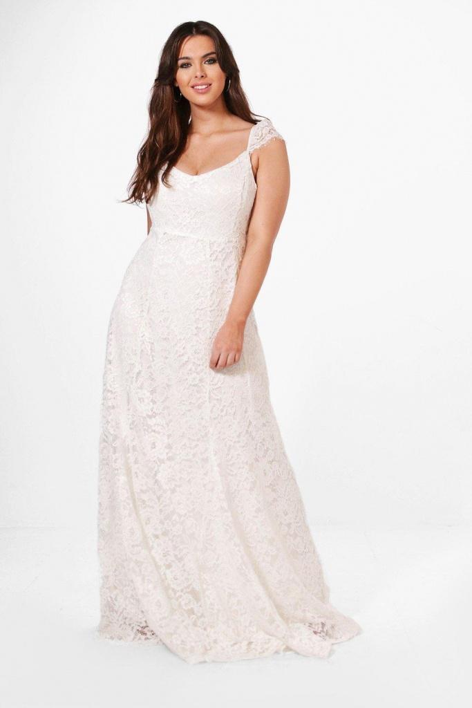 0105a58bdb Plus biele dlhé čipkované šaty na ramienka 428BHa - Salón Emily